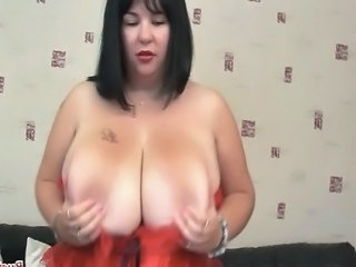 British BBW Meow 34JJ plays with her massive melons then fucks her hooters...