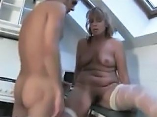 Old Pussy Getting Abused In The Kitchen