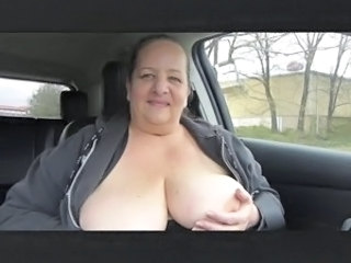 Cruising with her Tits Out