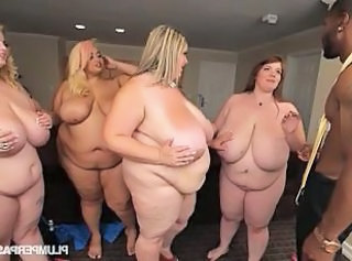 4 nasty bbws go lesbo while sharing a black cock _: big natural tits chubby huge ass