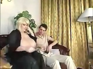 Real busty Mom fucks by skinny boy