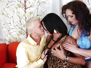Horny Alessandra in threesome with couple