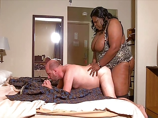 Big Fat Black Shemale fucks white guy interracial style
