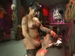 Sexy shemale fucks a guy then cums