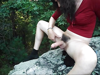 Naughty tranny shows her sexy hairy bush!!!