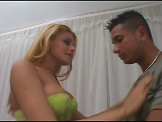 Cute Blonde Tranny and a Guy