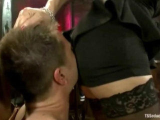 Video from: hardsextube | Shemale whips out her cock and stuffs it in his virgin mouth and ass