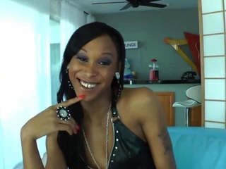 Ebony shemale solo action when home alone