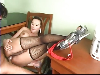 TS cutie in stockings fucked