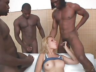 Shemale Sucks 5 Black Cocks and Swallows all the Cum