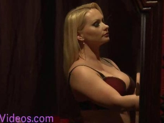 Busty tall tranny fucks huge boobs blond