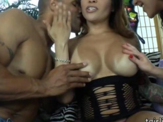 Large tits tranny bombshell TS Foxxy joins hot couple for a sweet threesome sex