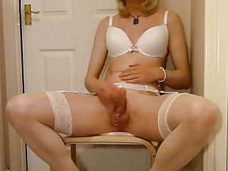 Pierced Tgirl Sapphire Enjoys Herself And Cums