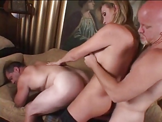 Mature TS Fucks Two Guys