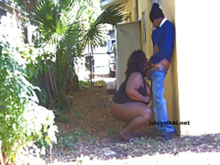 BBW Ladyboy JuicyNikki out in public sex