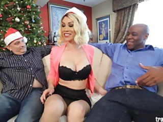 Hot tranny fucked by BBC while husband