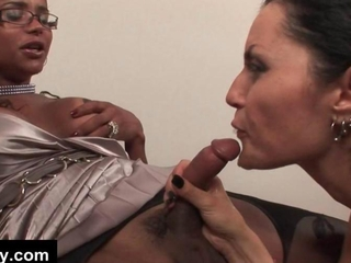 A hot babe sucks off and fucks a black tranny