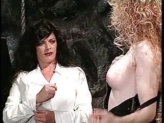 Blonde tranny in bondage gets dick and ass wedgy