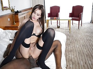 Blackman stuffs tgirl with black dick till she cums..