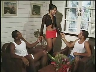 Latin Shemale fucked by two guys