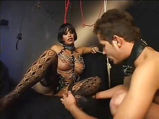 Beautiful Dark Haired Shemale Foot Worship
