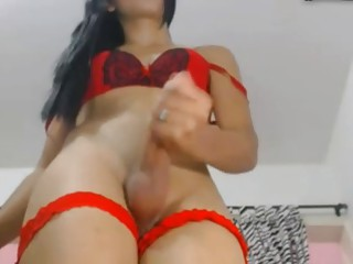 Webcam shemale solo jerk and cum
