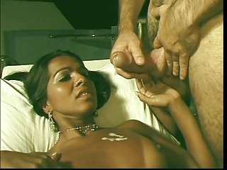 Dark skin exotic tranny gets cock sucked and ass fucked by hot stud