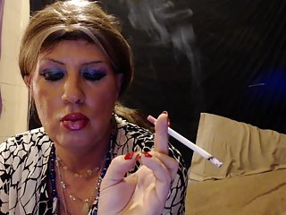 Tgirl having a cigarette