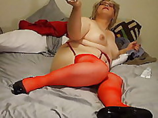 Red Dress and a Big Dildo