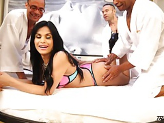 Sweet Brazilian tranny fucked in all holes by 4 men