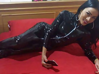 Sexy shemale in catsuit