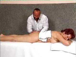 Redhead granny fucked after massage