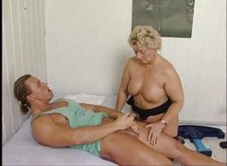 Blond mature drilled after massage