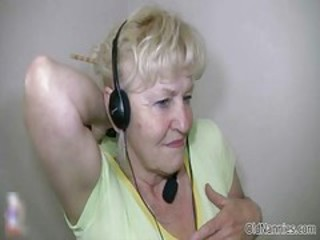 Blonde granny with big tits dances naked part5