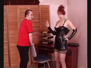 Milf In Leather Suit Lets Her Creative Slave Lick Her Wet Pussy