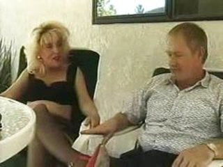 Blond mature doggy banged