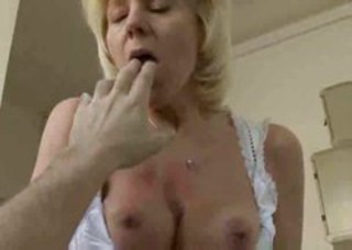 Blond mature throated and fucked by POV