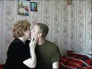 Russian Kissing Homemade Amateur Grandma Mom Son