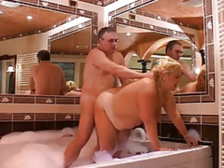 Italian Doggystyle Old And Young Bathroom Bathroom Mom Blonde Chubby