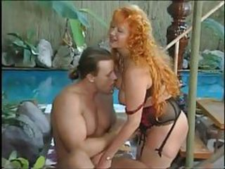 Long Hair Pool Redhead Granny Young Lingerie Old And Young