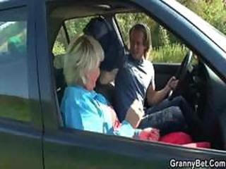 Car Old And Young Outdoor European Granny Young Old And Young