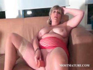 BBW blonde dildo fucks her mature cunt
