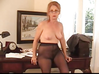 Solo Office Pantyhose Boss Granny Hairy Hairy Granny