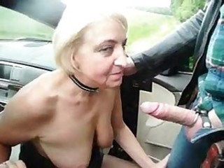 Unrepining wench granny used by alien in highway automobile parkland