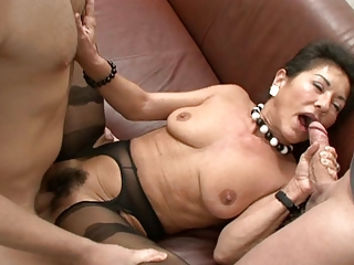 Pantyhose Hairy Threesome Big Cock Blowjob Big Tits Big Tits Blowjob