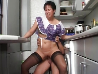 German Kitchen Riding European German German Mature
