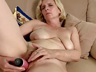 Masturbating Solo Dildo Blonde Mature Blonde Mom Hairy Masturbating