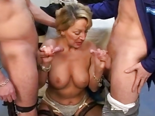 French Mature With 2 Young Cocks