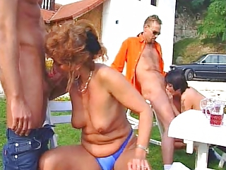old and young, party sex in a garden