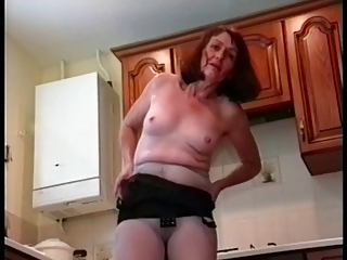 Granny Poses in Pantyhose